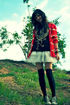 white tulle foreign exchange skirt - black knee-high Urban Outfitters stockings