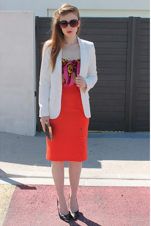 white white River Island blazer - hot pink versace scarf