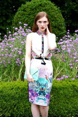 purple Designed skirt - white Atmosphere shirt - aquamarine H&M bag