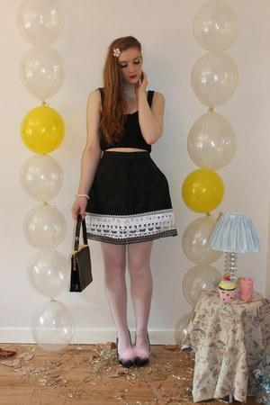 vintage bag - Topshop&DIY skirt - Dune&DIY heels - topshop bralet Topshop top