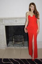 red versace dress - gold River Island bag - red Zara heels