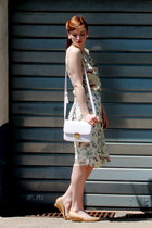 vintage necklace - asos shoes - H&M bag - Atmosphere blouse - Atmosphere skirt