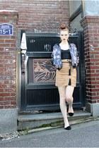 mustard mustard skirt H&M skirt - black printed bomber jacket