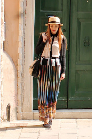 River Island skirt - boater hat H&amp;M hat - new look shirt - H&amp;M bag