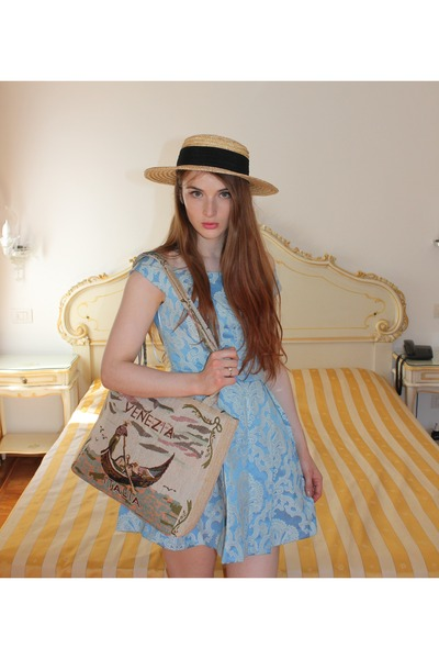 4fdee594cb tan boater hat H M hat - tan flower shoes Topshop shoes