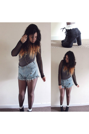 blue vintage shorts - black Penneys boots - charcoal gray H&M dress