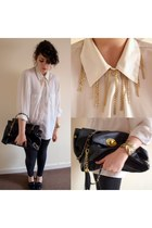 black Awear bag - white vintage shirt - black Newlook heels