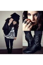 black Penneys boots - black Topman hat - black NN jacket