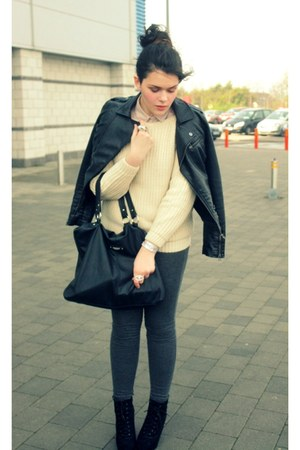 black Penneys jacket - cream wool Sheinside sweater - eggshell H&amp;M shirt