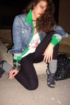 green adidas jacket - black Zara leggings - white Stradivarius t-shirt - black Z