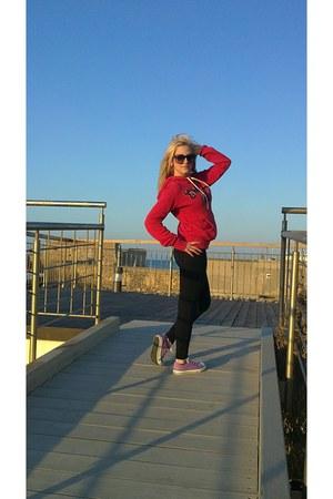 black Zara leggings - red H&M hoodie - amethyst Converse sneakers