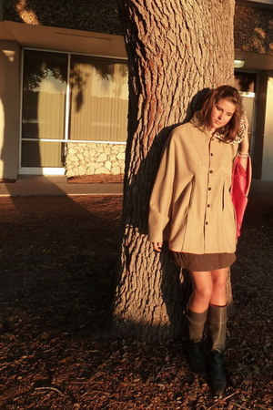 tan coat - army green boots - dark brown skirt