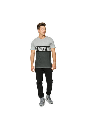 gray nike t-shirt - gray Adidas sneakers - black Puma pants