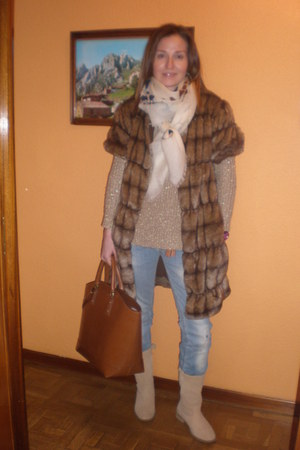 brown coat - camel boots - sky blue jeans - beige scarf - brown bag - tan jumper