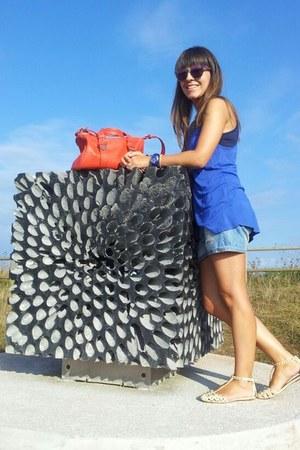 coral bag - light blue shorts - amethyst sunglasses - neutral sandals