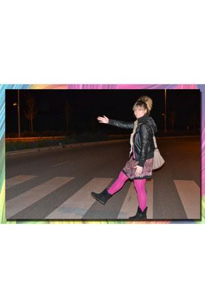 DIY boots - black Mango blazer - Parfois bag - DIY skirt - Calcedonia stockings