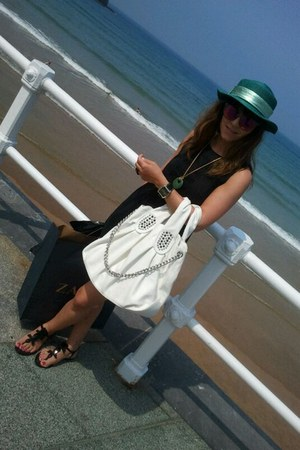 black dress - turquoise blue hat - white bag - light purple sunglasses