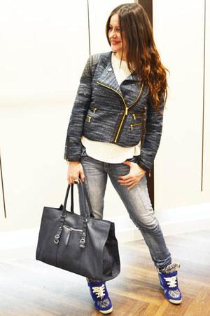 navy Sfera jacket - periwinkle Bershka jeans - navy Zara bag
