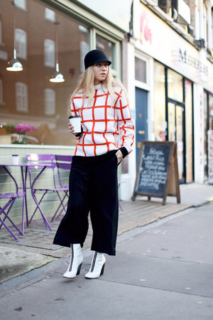white JW Anderson sweater - white Celine shoes - dark gray H&M hat