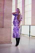purple money print acne shirt - black maison martin margiela boots