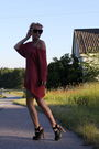 Red-gina-tricot-dress-black-zara-shoes-beige-zara-coat-white-primark-dress