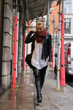 black Zara jacket - black Topshop boots - black asos purse - white H&M shirt - r