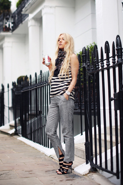 white stripy whistles top - silver silver Topshop pants