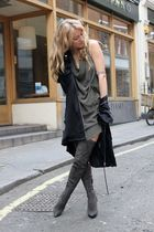 black Alexander Wang cardigan - gray River Island boots - green COS dress