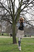 gray Topshop jacket - beige Barbara Bui boots - beige Zara skirt