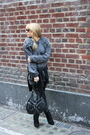 Gray-ashish-sweater-black-gucci-sunglasses-brown-nailpolish-accessories