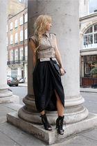 beige Topshop jacket - black Topshop skirt - black Topshop boots