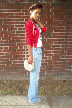 red cardigan - blue jeans - beige purse - white top