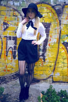 black lindex hat - white Zara shirt - black Zara tights - black vintage shorts