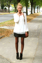 ivory sheer Primark shirt - black chunky heels asos boots