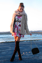 black over the knee boots - light pink Primark dress - beige faux fur New Yorker