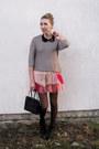 Black-sequin-collar-primark-necklace-black-laced-up-amisu-boots