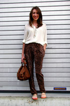 leopard print pants - sheer vintage shirt - burnt orange Primark bag