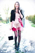 black velvet vintage blazer - heather gray lace up JENNIKA boots