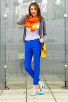 carrot orange color blocking scarf - yellow Primark bag - heather gray cardigan
