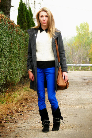 blue electric blue F&F pants - black Primark boots - charcoal gray coat
