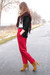 tawny lace up Primark boots - crimson fringed scarf - black vintage cardigan - r