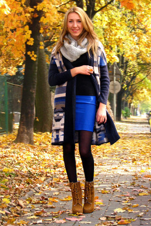 blue royal blue handmade skirt - bronze laced up Primark boots
