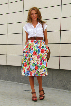 ruby red floral printed vintage skirt