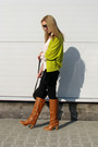 Burnt-orange-chunky-h-m-boots-white-sheer-c-a-shirt-black-velvet-diy-skirt