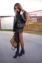 black Orsay jacket - blue shorts - black tights - light brown Primark bag - blac