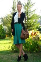 black vintage blazer - black chunky heeled Oasis boots - ivory vintage shirt