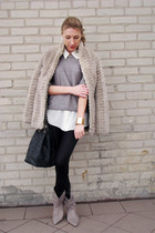 beige fake fur New Yorker coat - silver knit sweater - white sheer vintage shirt