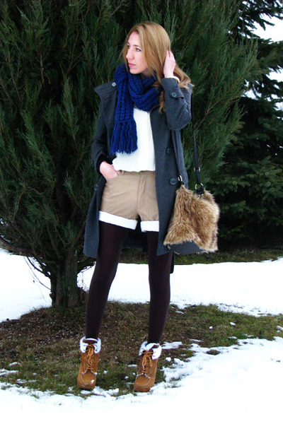 camel vintage shorts - bronze laced up Primark boots - charcoal gray coat