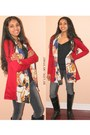 Ruby-red-oasap-cardigan-black-boots-boots-navy-club-monaco-jeans