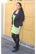 black AhaIShoppingcom boots - lime green OASAP dress - black chicnova leggings